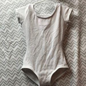Capezio girls white short-sleeve leotard